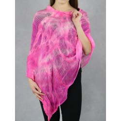 Hand-felted silk cape in the form of a poncho.