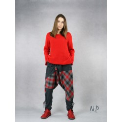 Women's checkered trousers by Aladdin with a lowered crotch