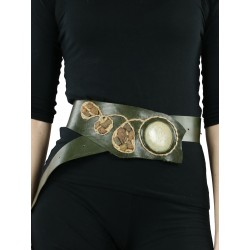 Wide olive leather belt for the dress.