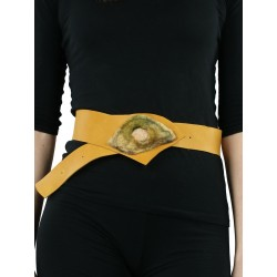 A wide decorative leather belt for the dress, honey color.