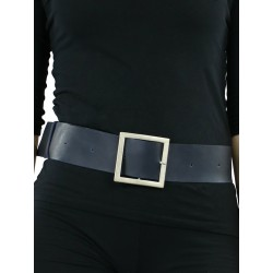 A wide navy blue leather belt for the dress.