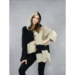 Oversized linen hooded jacket NP