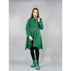 Women's green linen coat fastened with buttons.