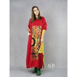 Long red oversize linen dress, hand painted.