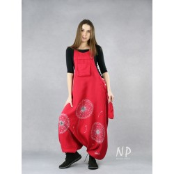 Women's red dungarees, hand-painted.
