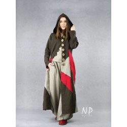 A long coat with a hood, made of colorful pieces of linen fabric.