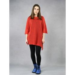 Orange knitted linen blouse for women.
