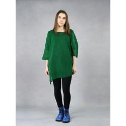 Women's green blouse made of linen knit.