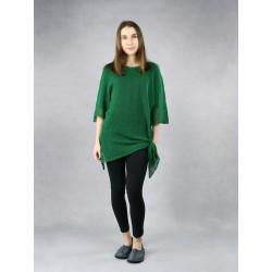 Green knitted linen blouse.