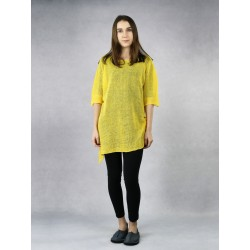 Yellow knitted linen blouse.