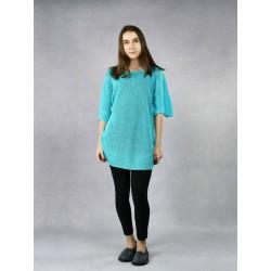 Blue knitted linen blouse.