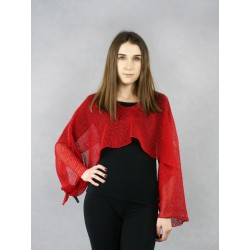 Women's multifunctional red knitted linen scarf.
