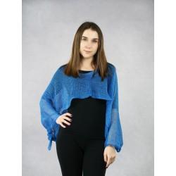 Women's multifunctional blue knitted linen scarf.