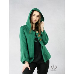 Green linen hoodie