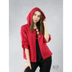 Naturally Podlasek red linen hoodie