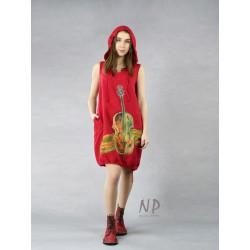 Red linen dress with a hood