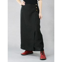 Long black linen wrap skirt
