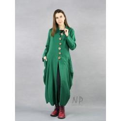 Green linen coat in an avant-garde style