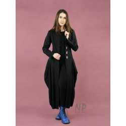 Black linen coat with an avant-garde style