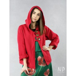 A button-up hoodie made of red linen.