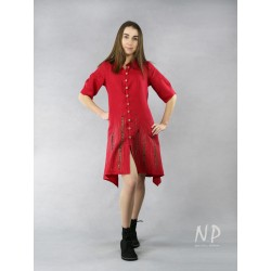 A short red dress with buttons, made of natural linen.