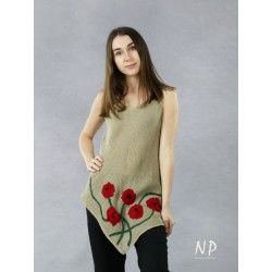 A linen blouse with straps with an asymmetrical hem and sewn-on flowers.