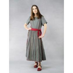 Flared gray linen dress