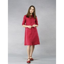 Short, maroon linen dress with decorative colored stitching