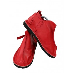Red Vagabond leather shoes, hand-sewn by Trek