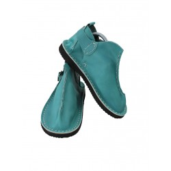 Turquoise Vagabond leather shoes, hand-sewn by Trek