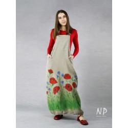 Linen gardener dress with hand-painted flowers.