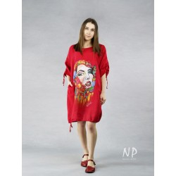 Red oversize linen dress with a hand-painted face.