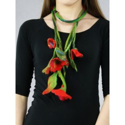 Long necklace made of felt in the form of a twig with flowers with an attached brooch.