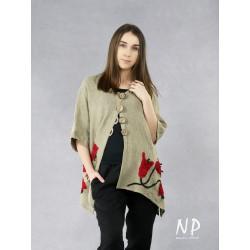 Artistic, linen sweatshirt with hand-sewn flowers.