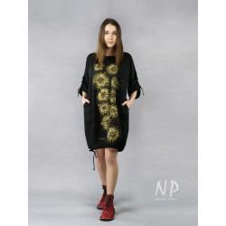 Black oversize linen dress, hand painted.