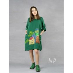 Green oversize linen dress, hand painted.