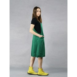 Short green linen dungarees with braces with hand-painted sunflowers