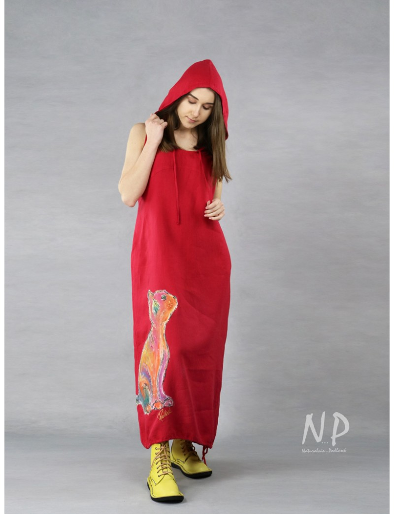 Hand-painted red linen dress with hood