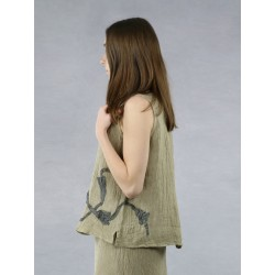 Linen top on wider straps with flowers sewn on.