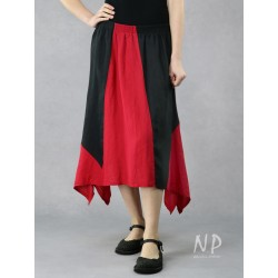 Linen asymmetrical midi skirt, made of pieces of black and red fabric.