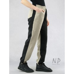 Two-color women's linen pants with a welt, finished with an elastic band