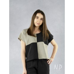 Two-color linen crop top