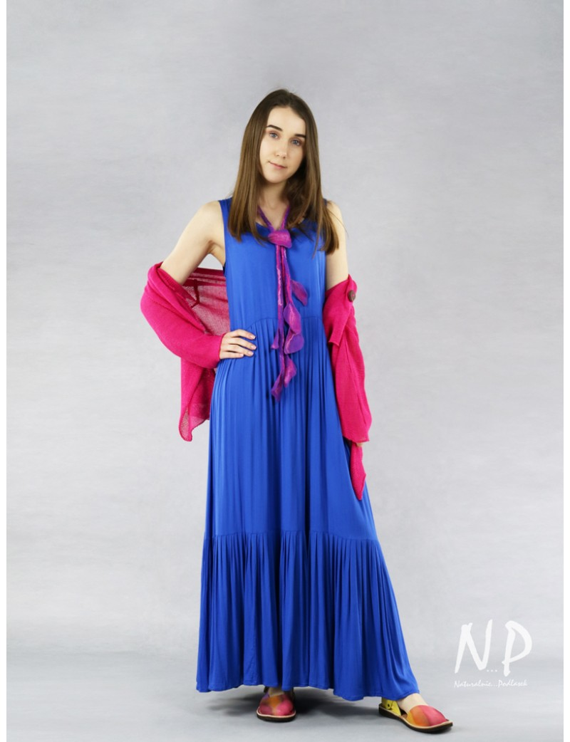 Blue Boho viscose dress produced by NP
