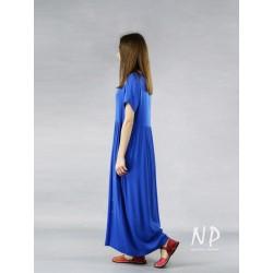 Hand-painted blue viscose dress