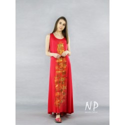 Red hand-painted viscose dress
