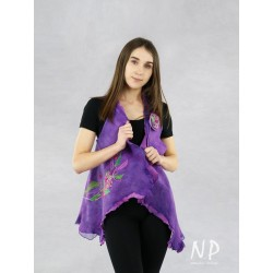 Handmade purple vest made of wool and silk, decorated with embroidery