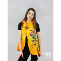 Hand-made yellow-orange vest made of wool and silk, decorated with embroidery