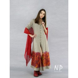 Hand-painted linen dress with elbow sleeves finished with a stand-up collar
