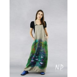 Linen gardener dress with adjustable shoulder straps, decorated with a hand-painted landscape