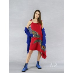 Red asymmetric linen dress with tied straps, decorated with hand-painted peacock feathers